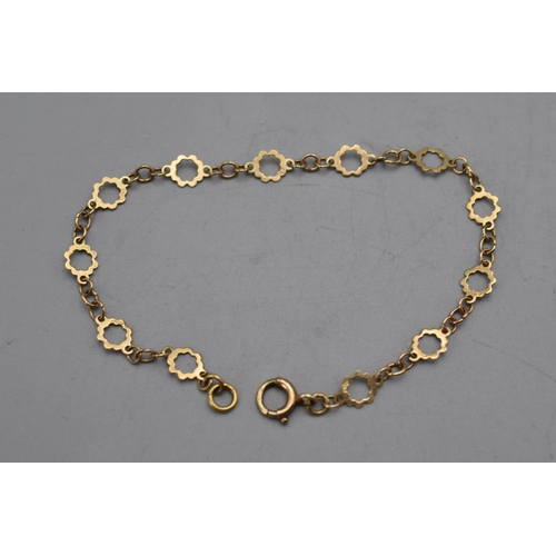 6 - Vintage 375 Gold Bracelet with every other Link Hallmarked