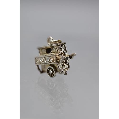 13a - Vintage Silver Opening Street Organ Chim Charm to reveal Monkey inside