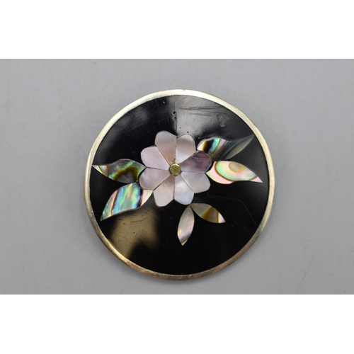 27 - Vintage Alpaca Mexico Silver Abalone & Mother Of Pearl Floral Brooch Complete with Presentation Box