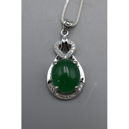 18 - Jade Pendant on Chain Complete With Gift Pouch