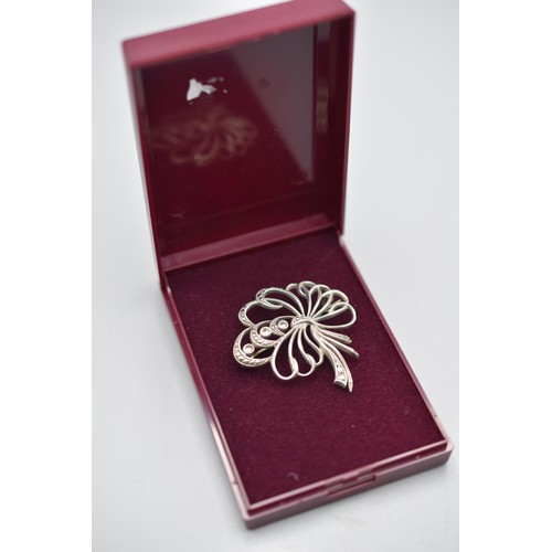 35 - Silver 925 Marcasite Floral Brooch Complete with Presentation Box
