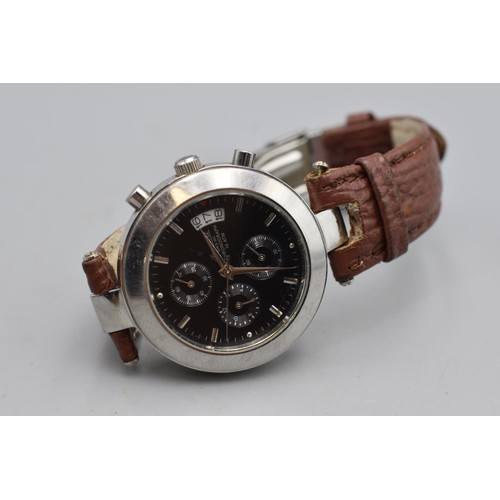 36 - Ingersoll Chronograph 10ATM Watch Complete with Leather Strap (Working When Tested)