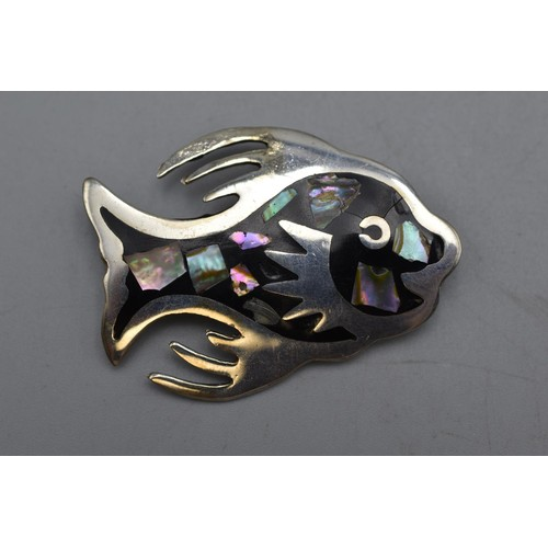 37 - Vintage Alpaca Mexico Silver Abalone & Mother Of Pearl Fish Brooch Complete with Presentation Box