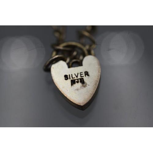 39 - Silver Bracelet with Heart Padlock