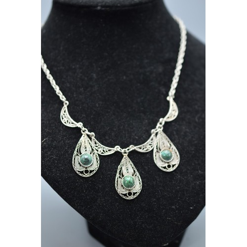 46 - Vintage Filigree style Necklace with Green Stones