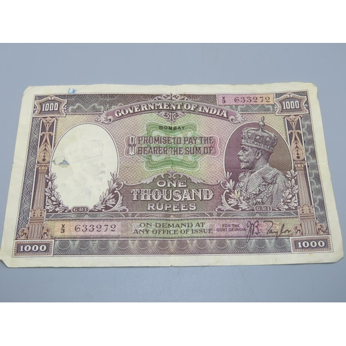 129 - George V One Thousand Rupee Government of India Bank Note (X3633272)