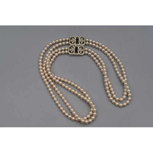 23 - Two String Pearl Necklace with 2 Diamante Clasps Complete with Presentation Box