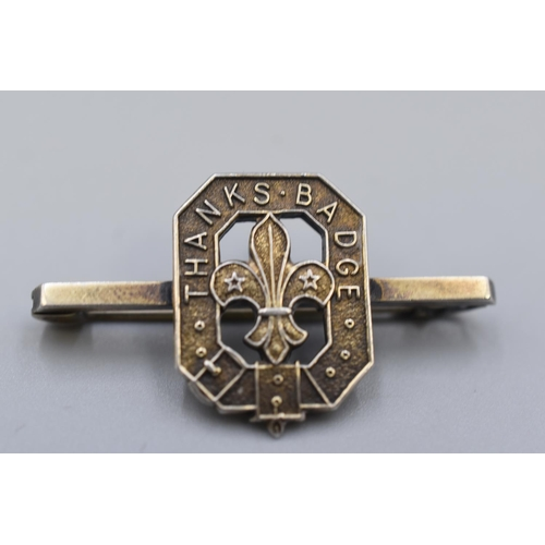 24 - Silver Hallmarked Scouts Thanks Badge