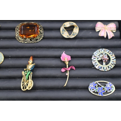 54 - Selection of Both Vintage and Modern Brooches