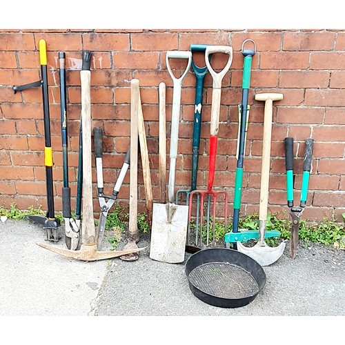 Selection of Garden Tools includes Forks, Spade, Pick Axe, Loppers and More