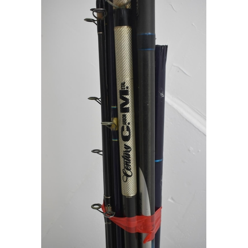 402 - Large Quantity of Sea Rods and Tripods to include Century and a Fishing Box with Contents