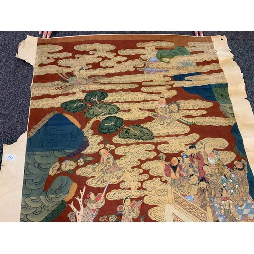 252 - Large Vintage Hand Painted Woven Chinese Silk Kesi Scroll Hanging Panel depicting the Pantheon of Ta...