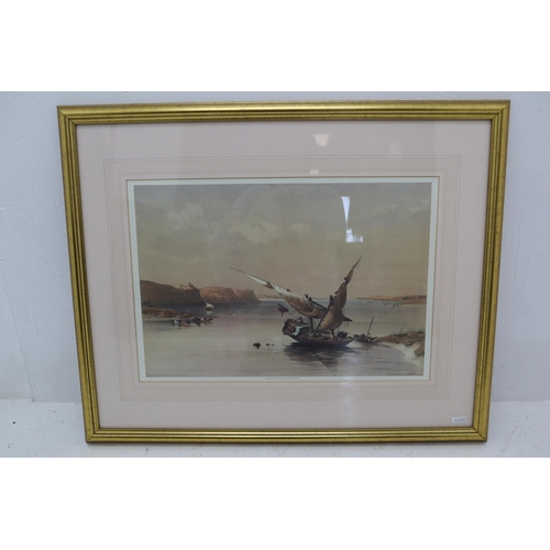 """Gilt Framed and Glazed Print By David Roberts entitled """"Approach to the Fortress of Thim Nubia"""" 29.5""""x 24"""""""