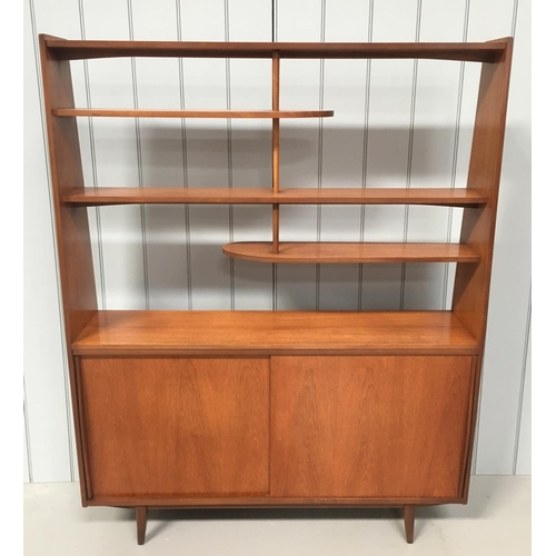81 - A stunning, mid-century, Teak Room-Divider. 3 suspended shelves, over a single-shelved double cupboa...
