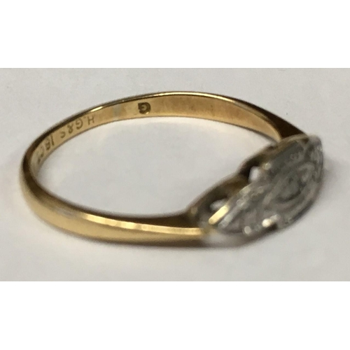 329 - A vintage 18ct Gold Ring, with small centre diamond by Henry Griffith & Co. c.1970's...