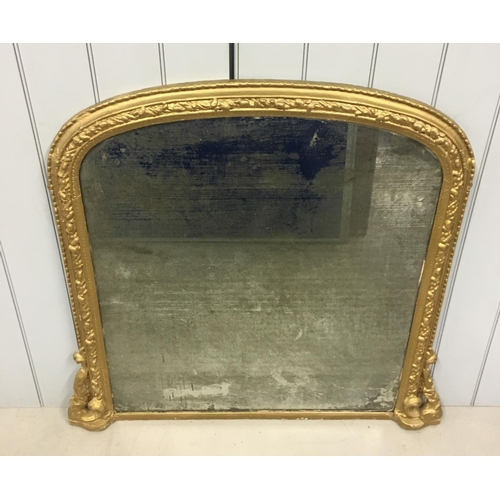 An authentic 19th century overmantle mirror. Mirror glass has suffered silvering. Dimensions(cm) H109 W115 D7