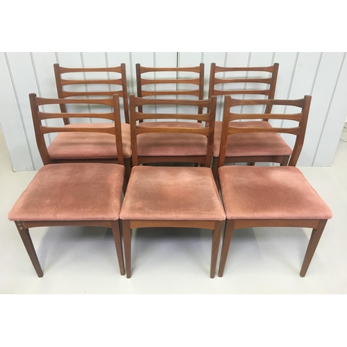 173 - A lovely set of 6 ladder-back teak dining chairs. Dimensions(cm) H81 (To Seat 47) W46 D43...