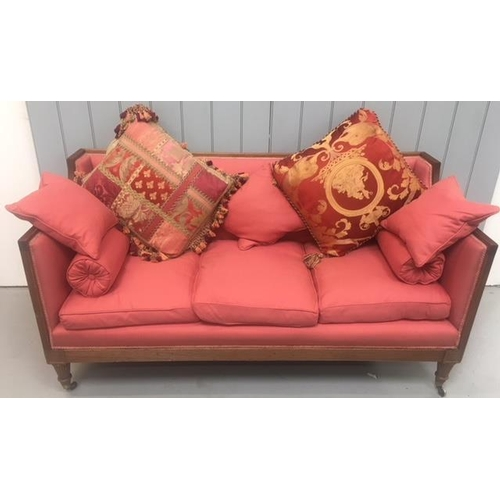 135 - A stunning, Georgian High-Sided Settee. Oak framed/legs on brass castors. Complete with matching and...