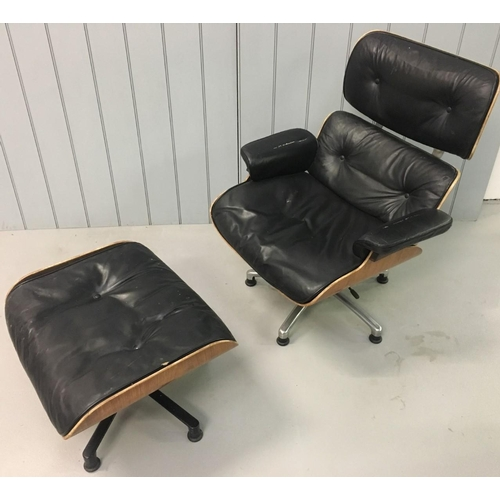 An original (we believe) Charles & Ray Eames Lounge Chair & Ottoman. An early example with the rotating footstool. All mechanics in full working order. No tears in leather, but buttons missing. Labels confirm it was professionally restored in 1993. Dimensions(raised) (cm) H106 (51 to seat) W81 D75 (seat down)H97 (42 to seat) Ottoman H44 W65 D50