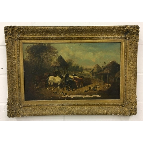 467 - A farm scene oil on canvas. Artist unknown. Lovely frame. Canvas has suffered damage as shown. 97cmx...