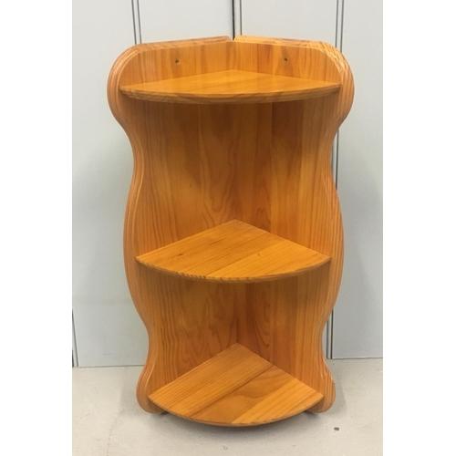 8 - A pine, short corner hanging shelf. Dimensions(cm) H57 W31 D20...