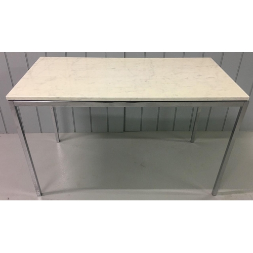 22 - An original mini-desk/table by Florence Knoll. Italian marble top upon chrome legs.  Retails for app...
