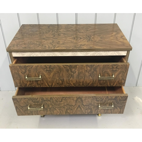 24 - A typical Retro low, Chest of Drawers. Two full width drawers. Matching Dressing Table available. Di...