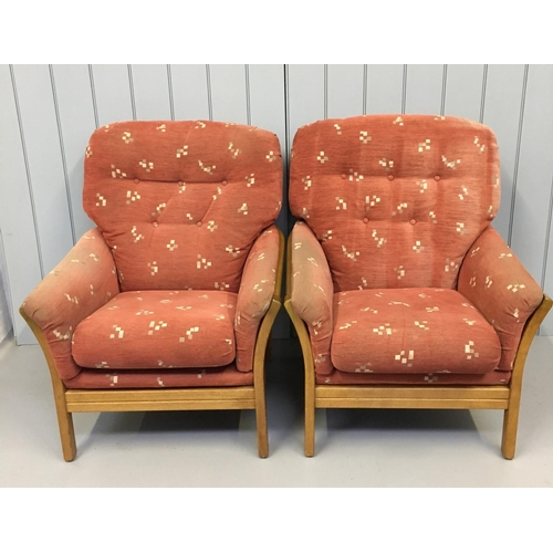 35 - A lovely pair of oversized teak armchairs. Dimensions(cm) H97 W78 D73...