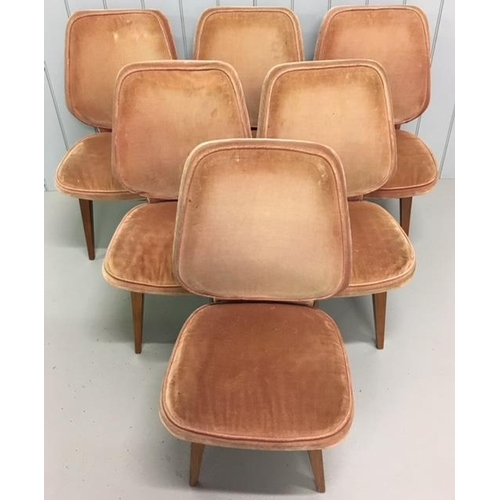 48 - A good quality set of six retro dining chairs. Teak framed and upholstered in fabric. Two chairs ret...