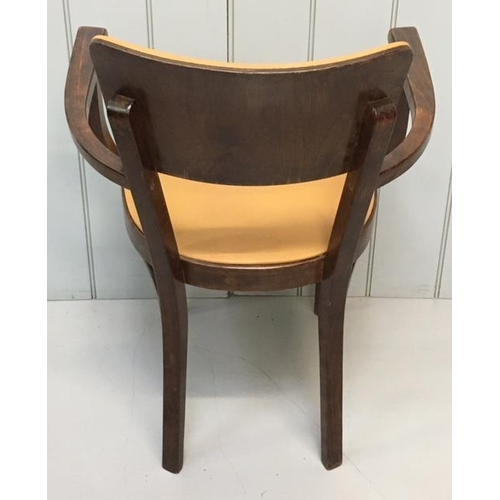 50 - A good quality teak armchair, with orange vinyl seat pad & backrest. Dimensio0ns(cm) H84(47 to seat)...