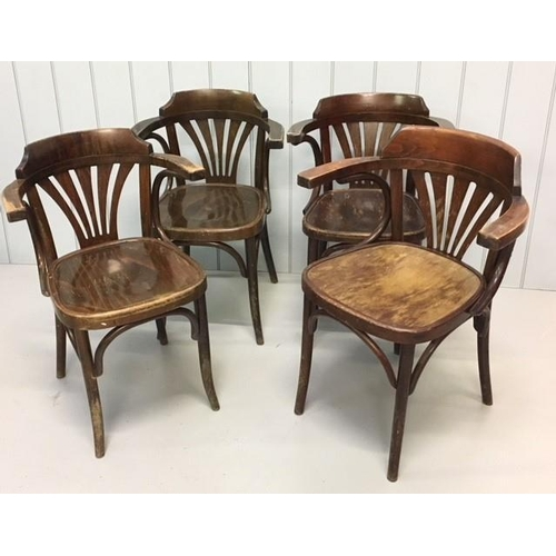 53 - A set of four Bentwood Armchairs in the style of Thonet. Dimensions(cm) H 78 (46 to seat), W53 D42...