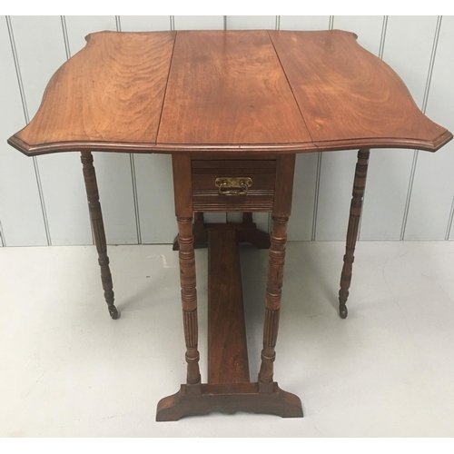 A pretty antique Oak, gateleg Pembroke Table. Single brass handled drawer. Dimensions(cm) H72 W73 D76