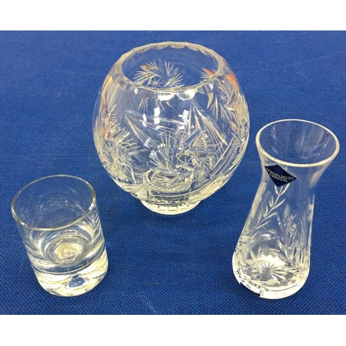 297 - Three pieces of crystal glassware, consisting of a vase, Bourbon glass & bowl....