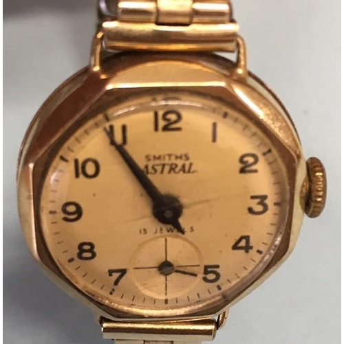 320 - A quality ladies watch from 1940's - Smiths Astral. Gold plated, 15 Jewel, rolled-gold front strap. ...