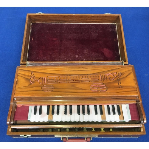 502 - An Indian  cased Harmonium from 1930's/40's. Made by the Indian company 'Chaitsingh Gurbaxsingh & Br...