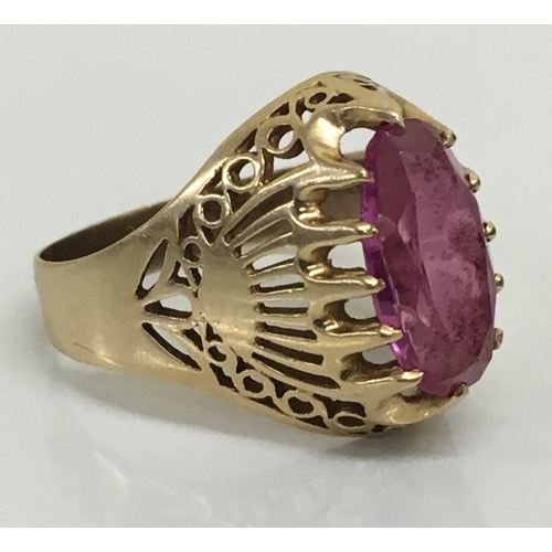 A substantial, vintage Russian 8ct Gold & pink Sapphire Ring. Hallmarked. Total weight 6.1g. Size X.