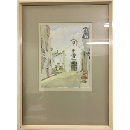 7 - A framed, mid-century, watercolour of Tossa, Costa Brava. Signed H M Mack. Framed dimensions: height...