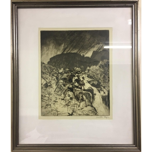 8 - A framed, plate print of