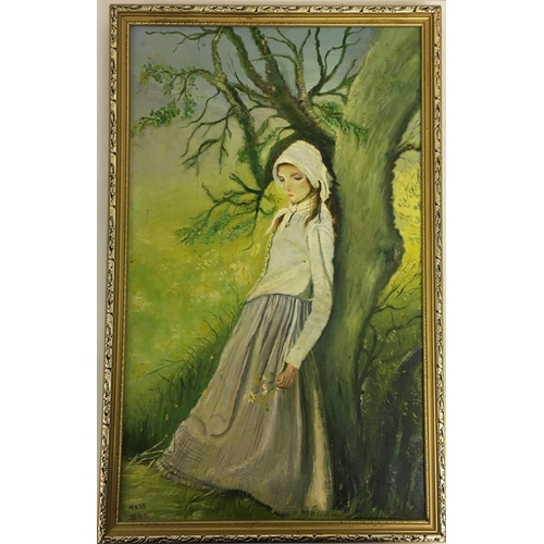 14 - A framed oil on board of a young lady leaning against a tree, holding flowers. Signed