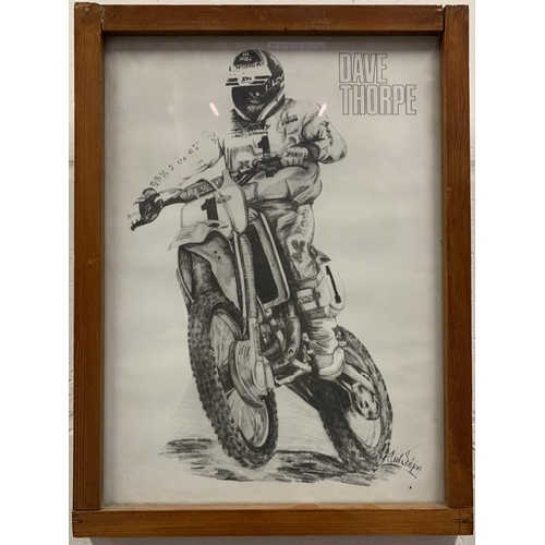 21 - A framed pencil drawing of the three-time motocross champion David Thorpe, artist unknown. Dimension...