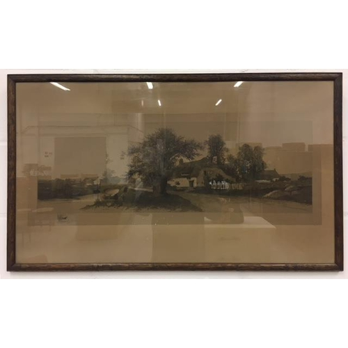 26 - A good framed Victorian pencil drawing of a Village scene. Signed, but artist unidentified. Dimensio...