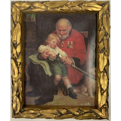 33 - A framed chromolithograph depicting a grandfather and grandchild unsheathing a sword in a living roo...