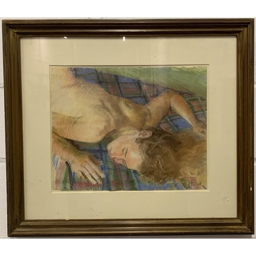 34 - A framed canvas print of semi-nude lady sunbathing on blanket. Dimensions(cm) H61 W70 D4