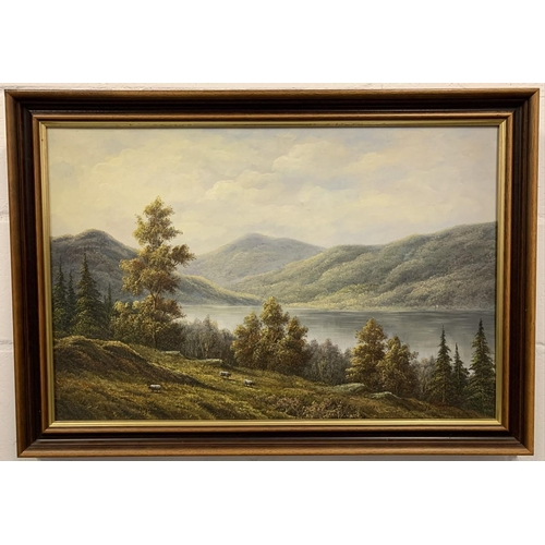 35 - A stunning framed oil painting depicted the Scottish Highlands, signed by P. Wilson. Dimensions(cm) ...