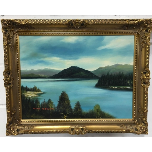 37 - A vintage framed oil on canvas signed Nina M Booth. Dates from c. early 20th century. Dimensions(cm)...