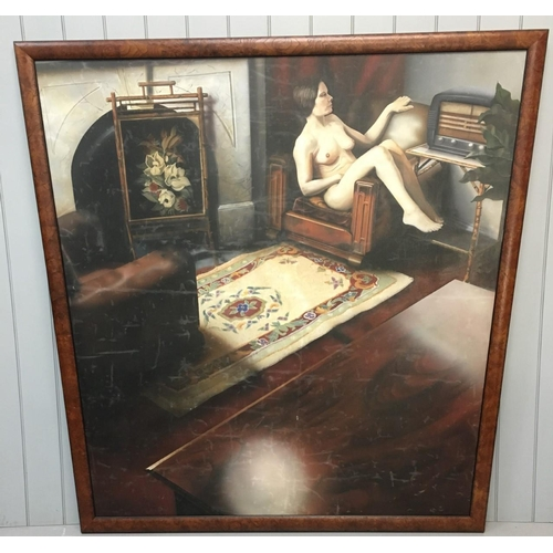 39 - A large trapezium shaped, walnut framed,  oil on canvas, portraying a nude lady relaxing in an armch...