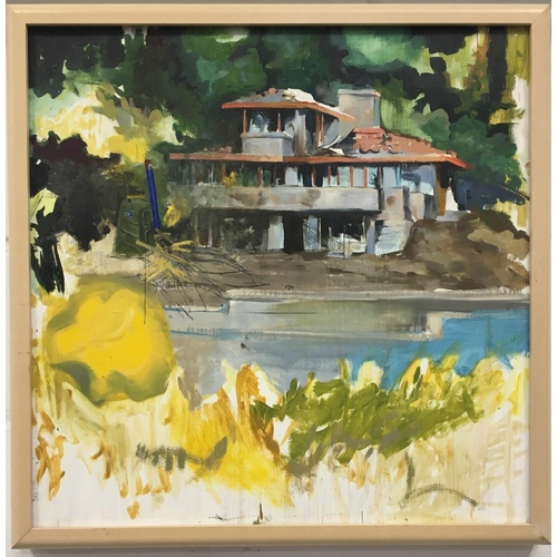 50 - A framed watercolour depicting a house by the river. Dimensions(cm) H65 W65