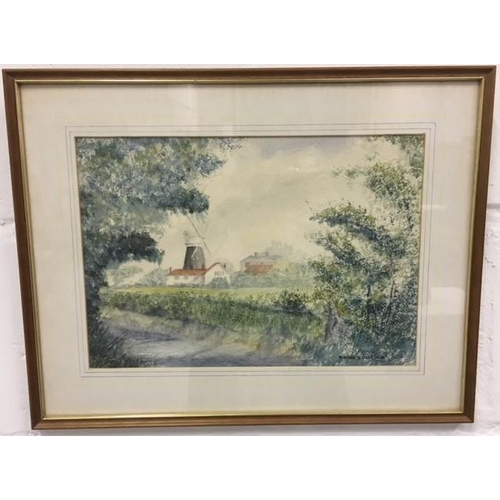 54 - A watercolour, signed Robert D Aldridge, of Stow Mill - a Norfolk flour mill built in the early 19th...