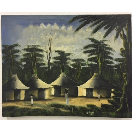 55 - A canvas African village scene, signed B Pierr. Height 41cm Width 51cm