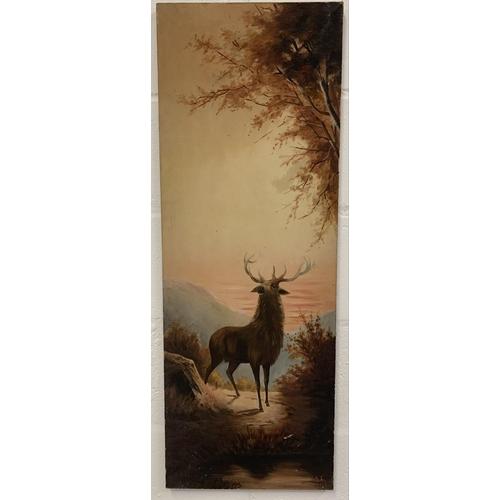 16 - Two modern art canvasses depicting Deers.